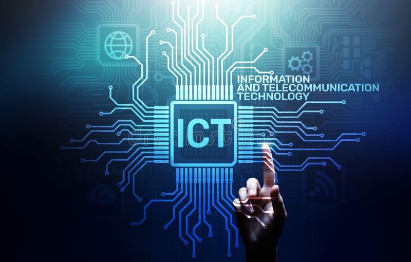 ICT - Информация и концепция техники связи на виртуальном экране иллюстрация штока