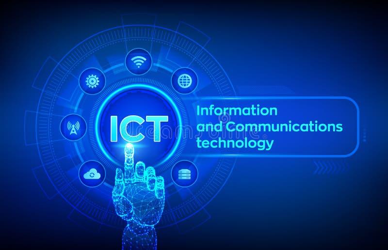ICT Информация и концепция техники связи на виртуальном экране Беспроводная коммуникационная сеть Умная система иллюстрация вектора