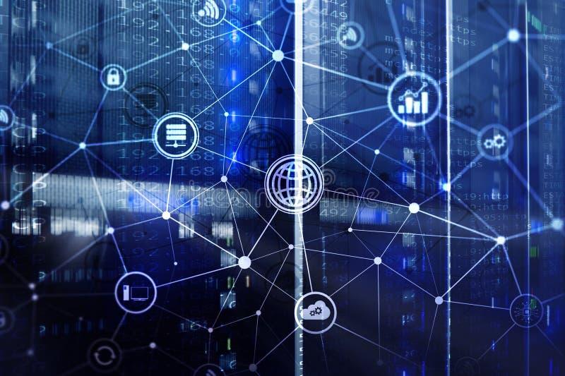 ICT -现代信息及电信技术和IOT -事概念互联网  与象的图在服务器室 向量例证
