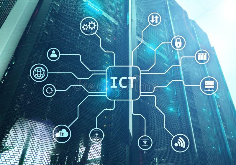 ICT - informatie- en communicatietechnolgieconcept op de achtergrond van de serverruimte stock illustratie