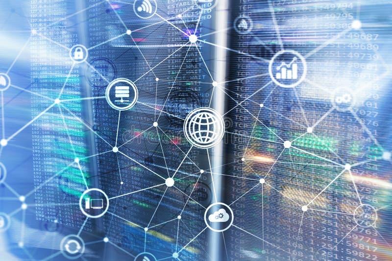 ICT - informatie- en telecommunicatietechnologie en IOT - Internet van dingenconcepten Diagrammen met pictogrammen op server royalty-vrije illustratie