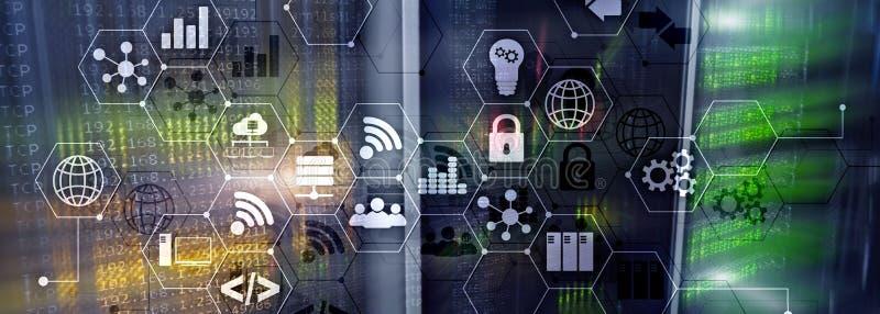 ICT - informatie- en telecommunicatietechnologie en IOT - Internet van dingenconcepten Diagrammen met pictogrammen op server stock afbeelding