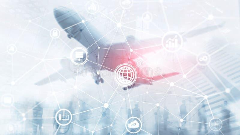 ICT - informatie- en telecommunicatietechnologie en IOT - Internet van dingenconcepten Diagrammen met pictogrammen op server stock foto's