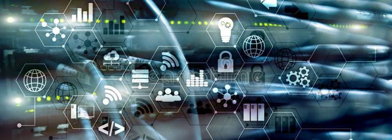 ICT - informatie- en telecommunicatietechnologie en IOT - Internet van dingenconcepten Diagrammen met pictogrammen op server vector illustratie