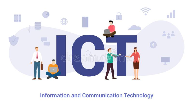 Ict information and communication technology concept with big word or text and team people with modern flat style - vector. Illustration vector illustration