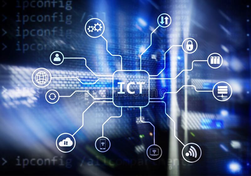 ICT - information and communications technology concept on server room background. royalty free stock photos