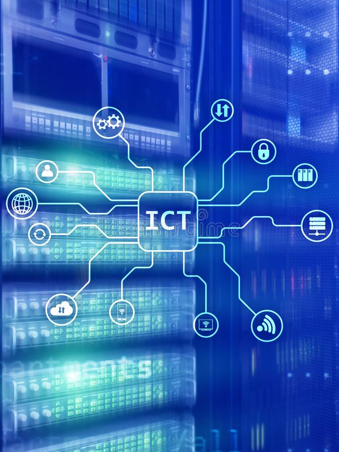 ICT - information and communications technology concept on server room background.  stock illustration