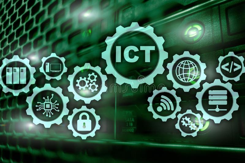 ICT. Information and communications technology on modern server room background. Virtual screen. royalty free stock images
