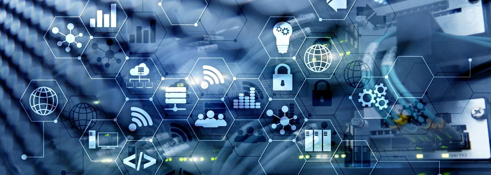 ICT - information and telecommunication technology and IOT - internet of things concepts. Diagrams with icons on server. Room backgrounds stock photography
