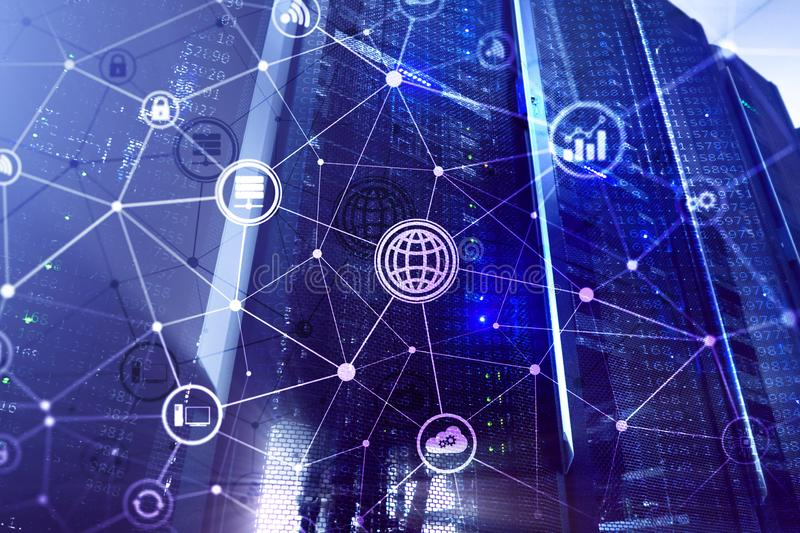 ICT - information and telecommunication technology and IOT - internet of things concepts. Diagrams with icons on server room. Backgrounds stock photo