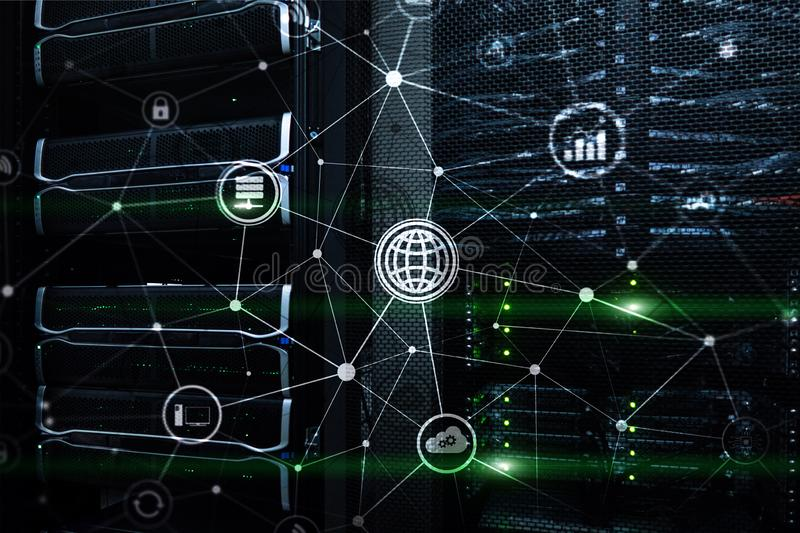 ICT - information and telecommunication technology and IOT - internet of things concepts. Diagrams with icons on server room backg. Rounds stock images