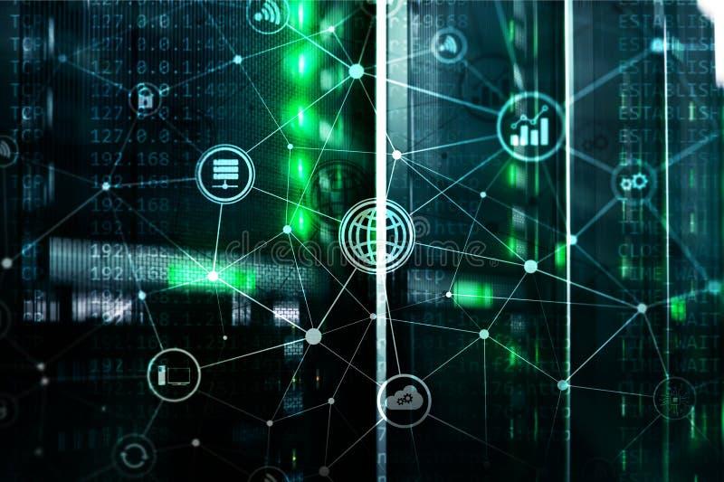 Ict - tecnologia di telecomunicazione e di informazioni e IOT - Internet dei concetti di cose Diagrammi con le icone sulla stanza immagini stock libere da diritti