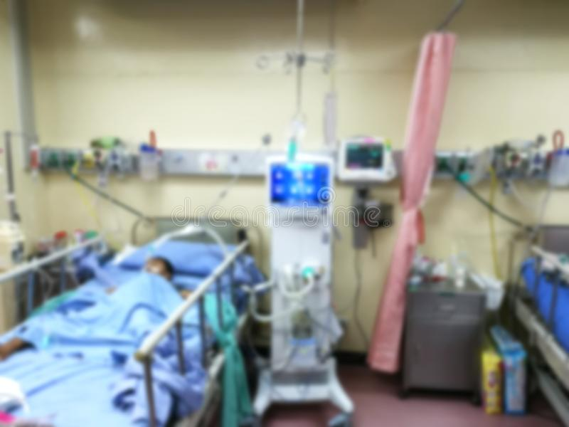 ICU-Raumpatientenkrisenbezirkbett-Notpatienten im Krankenhaus, Unschärfe lizenzfreies stockbild