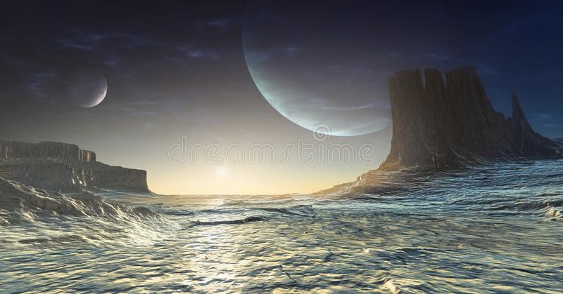 Icy alien planet royalty free illustration