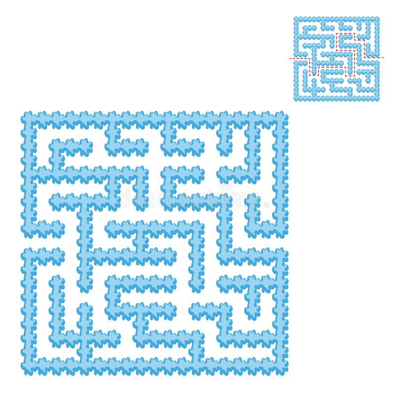 Icy blue square maze. Game for kids. Puzzle for children. Easy level of difficulty. Labyrinth conundrum. Flat vector illustration. Isolated on transparent stock illustration