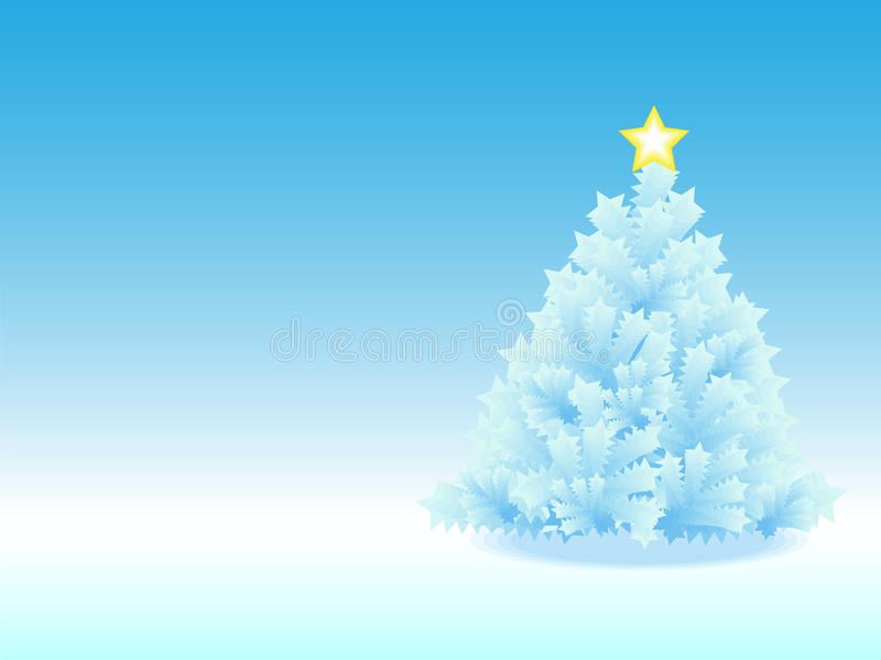 Icy Christmas Tree In Blue Gradient Background Royalty Free Stock Photo