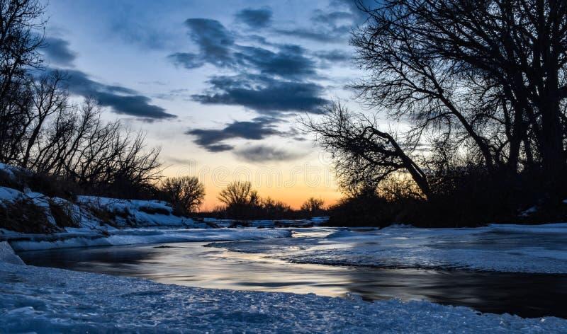 Icy Colorado Sunset royalty free stock photos