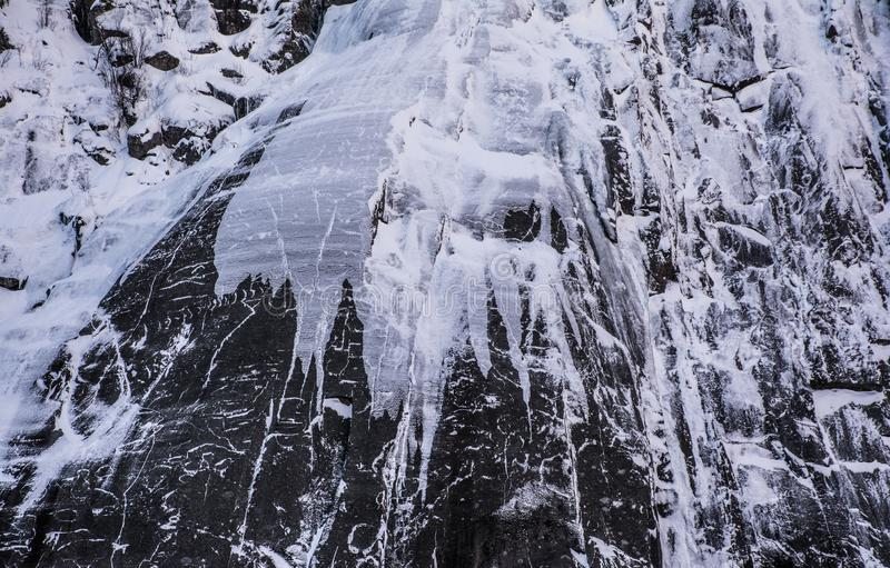 Icy fjord wall of Trollfjorden, Lofoten, northern Norway stock photo