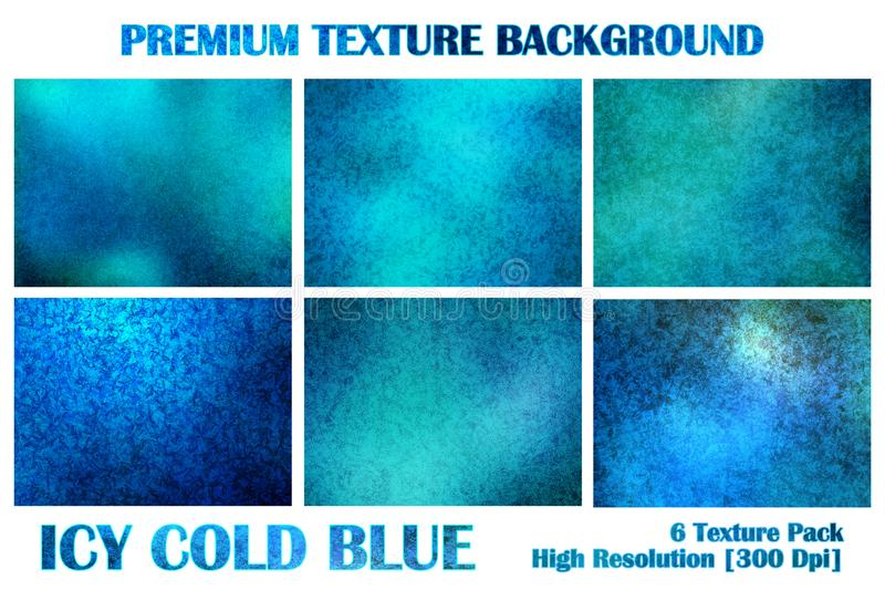 Icy Ice Cold Blue Premium Texture Pack Under Water Grunge Distort Rusty Abstract Pattern Background Wallpaper stock illustration