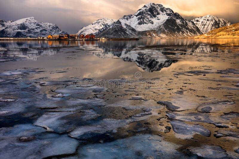 Icy lake fotografering för bildbyråer