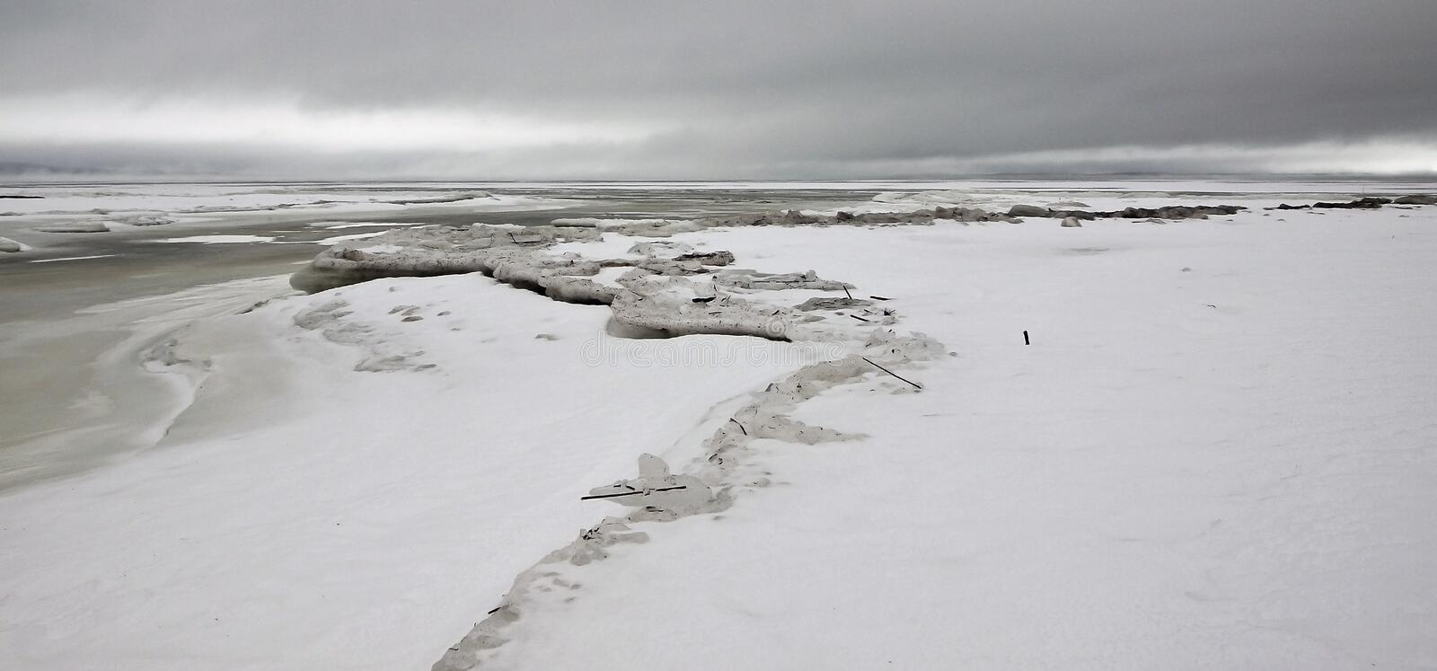 Download Icy Lake Superior stock photo. Image of overcast, snow - 7630168