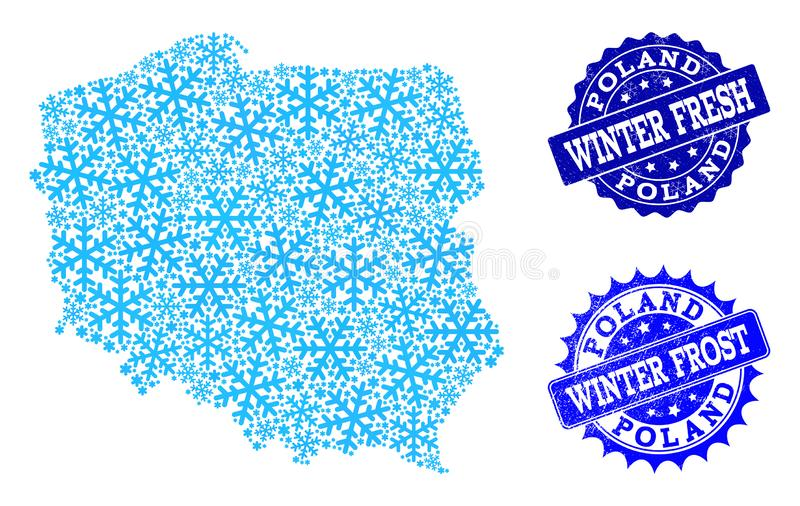 Winter Map of Poland and Winter Fresh and Frost Grunge Stamps royalty free illustration