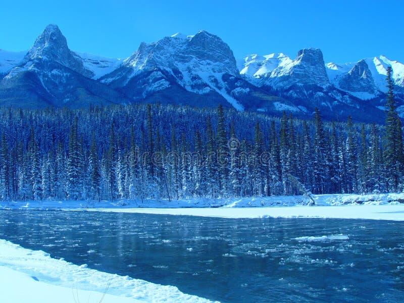 Icy mountain river stock photos