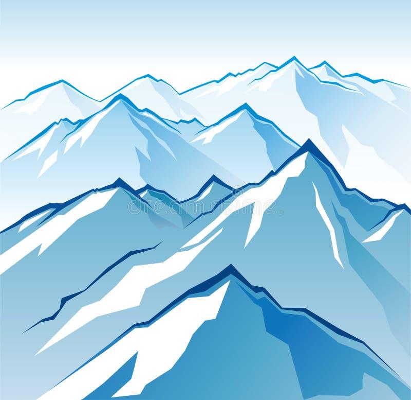 Icy mountains stock illustration