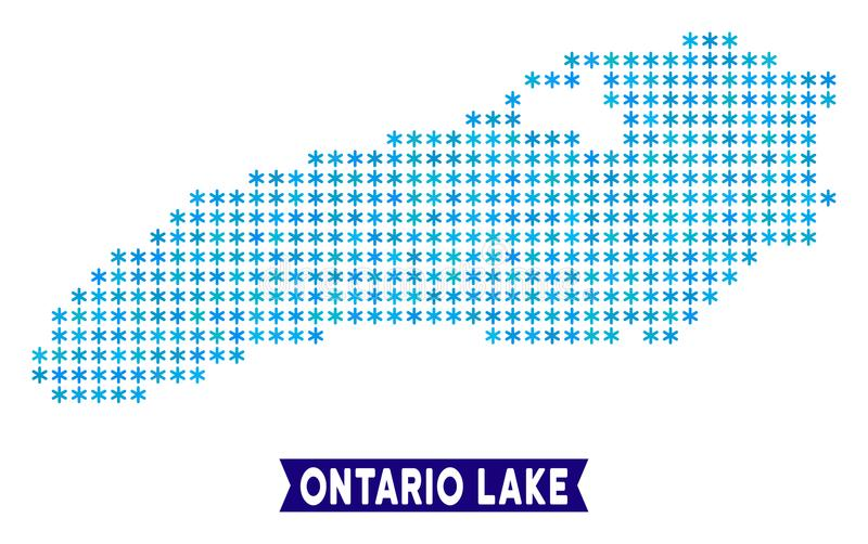 Icy Ontario Lake Map. Vector geographic plan in blue icy colors. Vector composition of Ontario Lake map created of snowflakes royalty free illustration