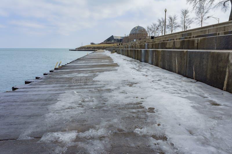 Icy port near Millennium Park stock images