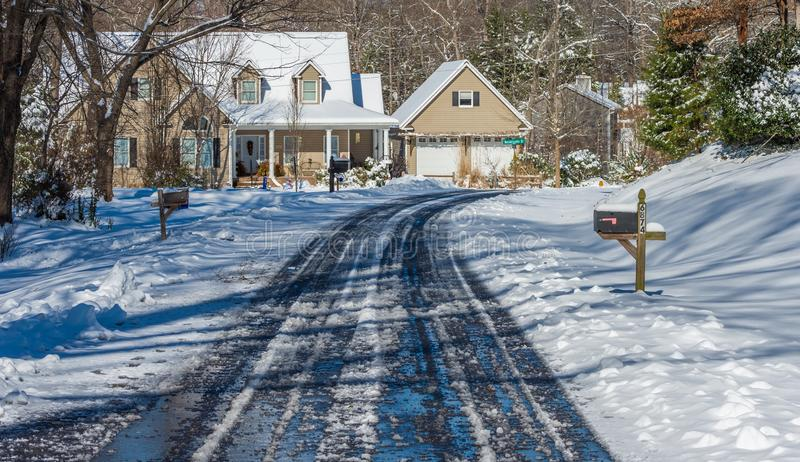 Download Icy road stock image. Image of winter, mailbox, snow - 83715069