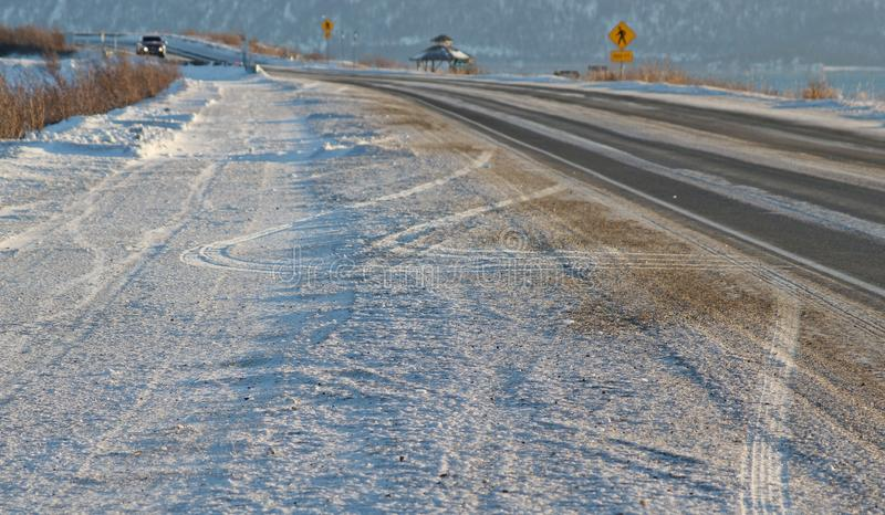 Icy Road In Winter Stock Photos