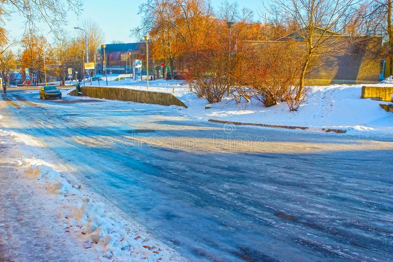 Icy road in winter stock images