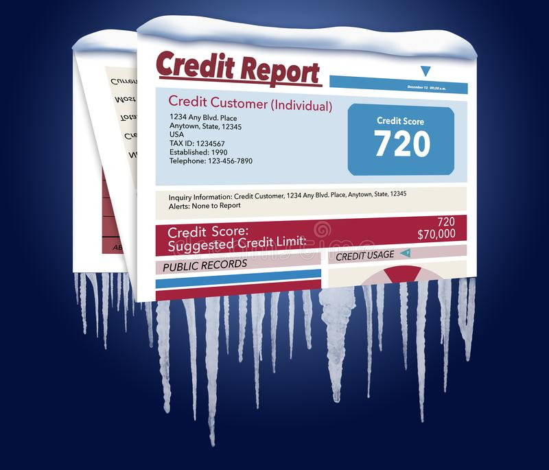 An icy, snow covered credit report in a snowstorm illustrates the idea of freezing your credit report. This is a credit freeze. And this is an illustration royalty free illustration