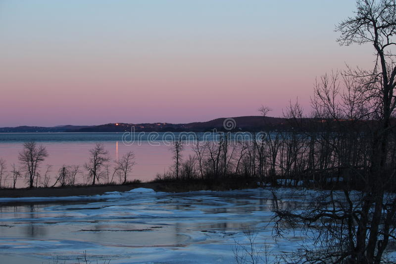 Icy sunset stock image