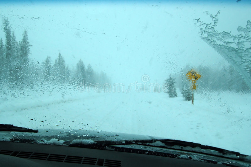 Icy winter driving conditions stock photography
