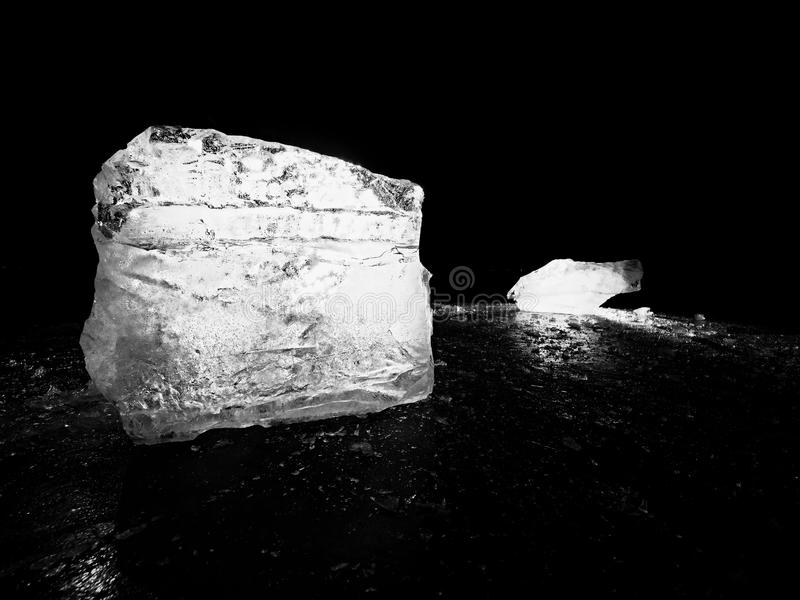 Icy winter landscape - thick ice covered ashore. Crashed ice floe stock photos