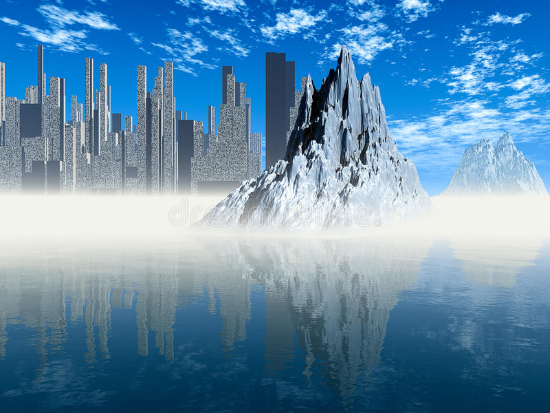 Icy world. Apocalypse, frozen city vector illustration