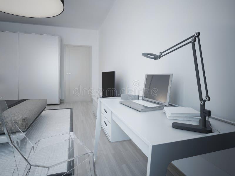 Idé av arbetsområde i modernt sovrum arkivbild