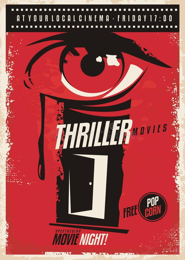 Idé för design för affisch för thrillerfilmmaraton retro royaltyfri illustrationer