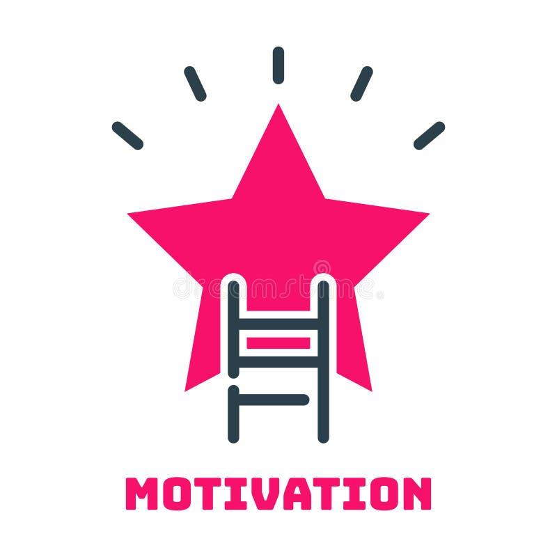 Idé för design för utveckling för strategi för affär för symbol för stjärna för stege för motivationbegreppskarriär och ledningle stock illustrationer