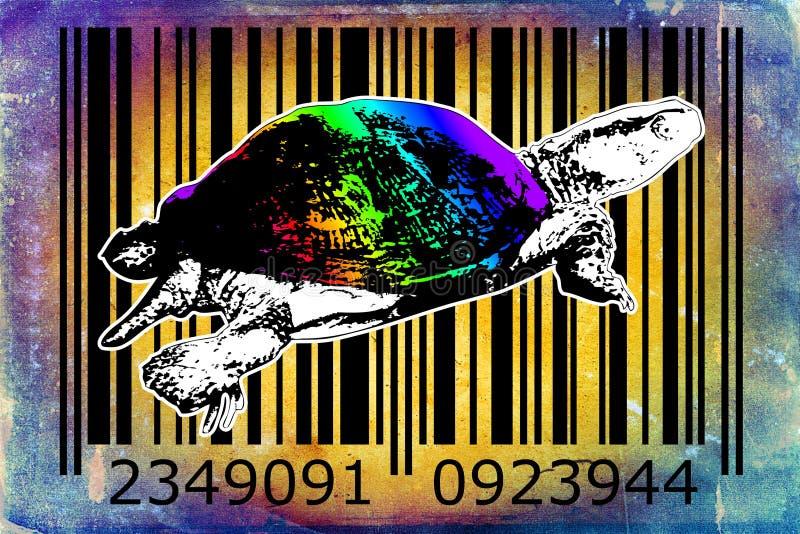 Idé för konst för design för sköldpaddabarcode djur stock illustrationer