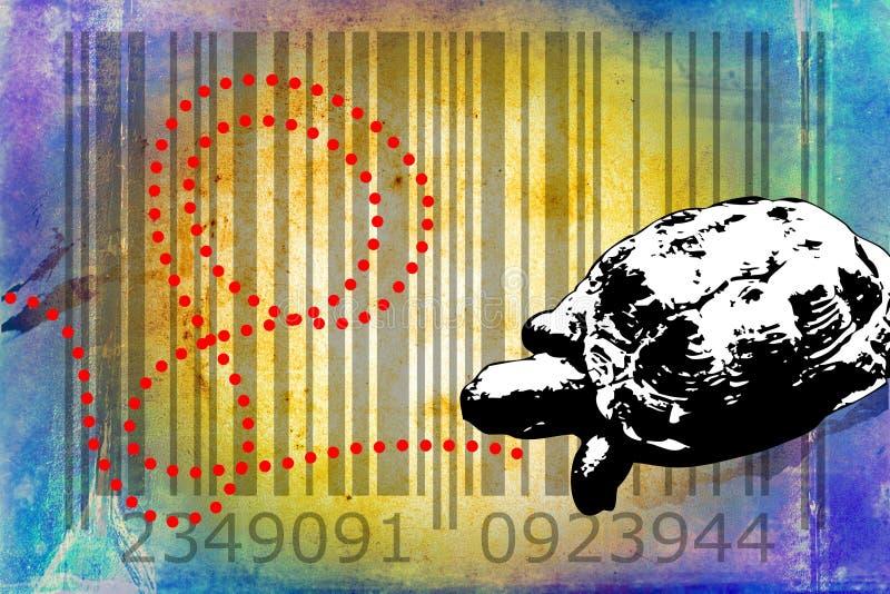 Idé för konst för design för sköldpaddabarcode djur vektor illustrationer