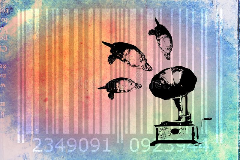 Idé för konst för design för sköldpaddabarcode djur royaltyfri illustrationer