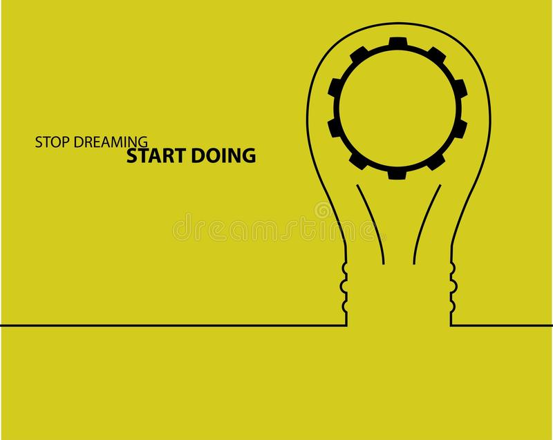 Idé för kulaljus begrepp av stor idéinspirationinnovation, uppfinning, effektivt tänka text stock illustrationer