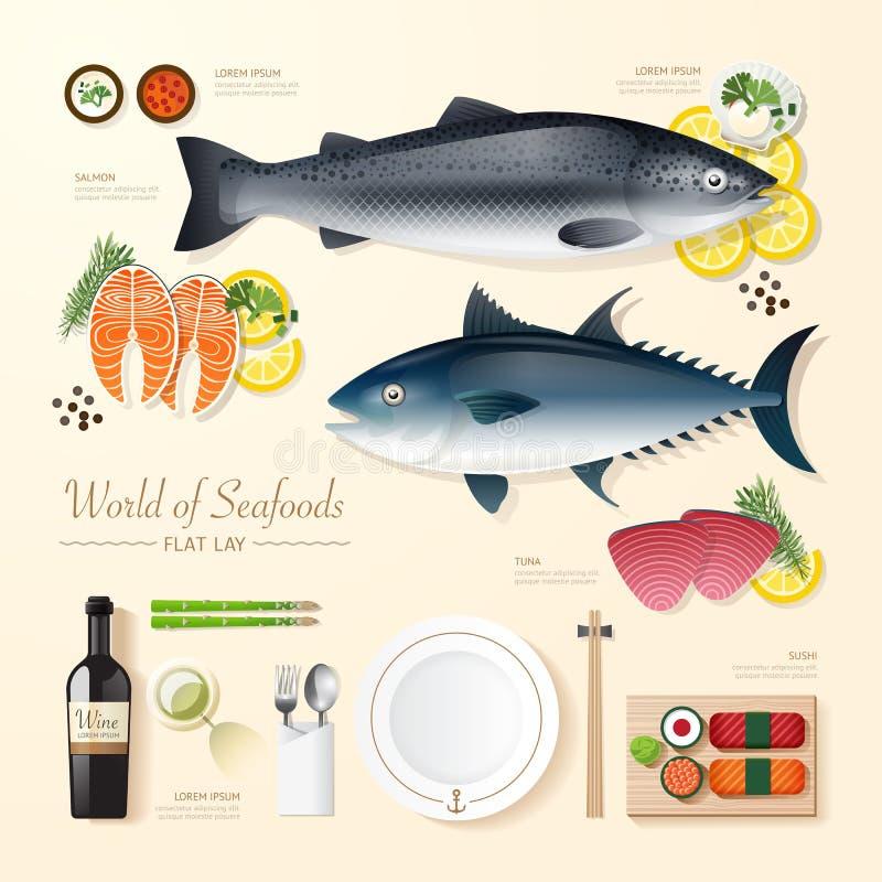 Idé för lägenhet för skaldjur för Infographic mataffär lekmanna- stock illustrationer
