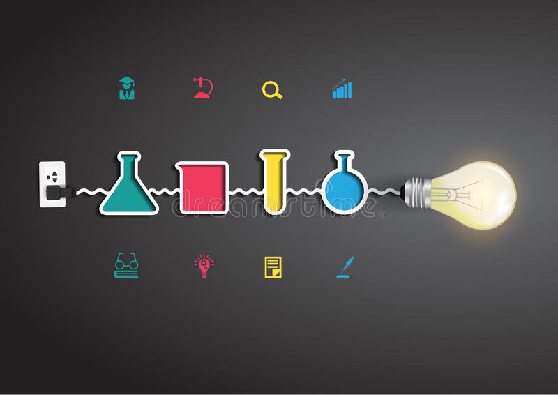 Idé för ljus kula för vektor idérik med kemi och vektor illustrationer