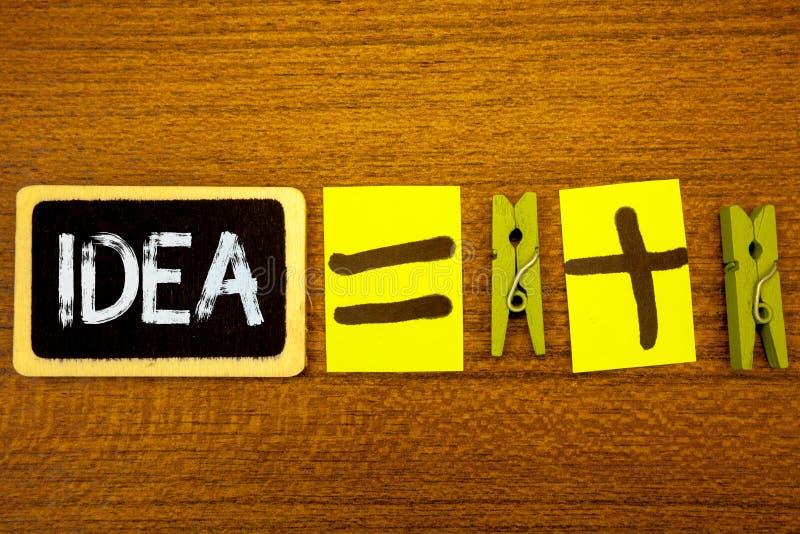 Idé för ordhandstiltext Affärsidé för idérik innovativ tänkande svart tavla c för idéer för lösningar för fantasidesignplanläggni arkivfoto