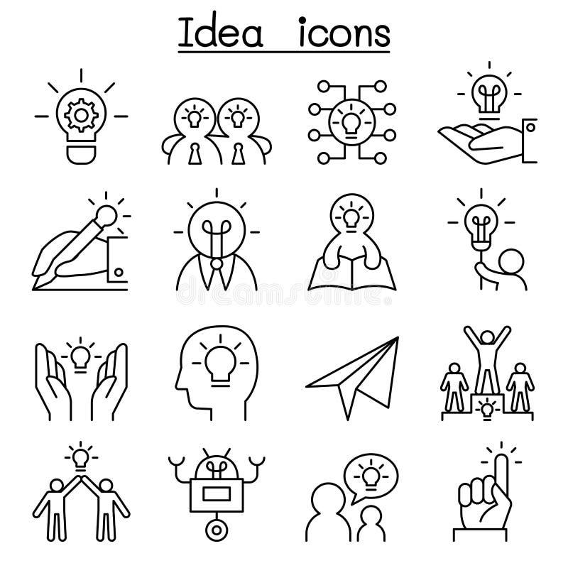 Idé & idérik symbolsuppsättning i den tunna linjen stil vektor illustrationer