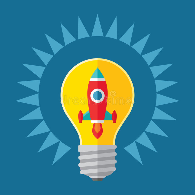 Idé- och startbegreppsillustration Raket i lightbulben - idérik illustration i plan stildesign royaltyfri illustrationer